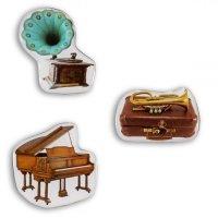 3er Set Deko-Magnete Musikinstrumente